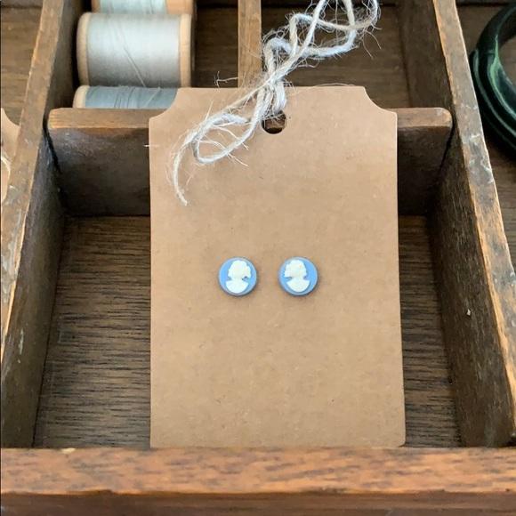 Petite Blue Cameo Earrings